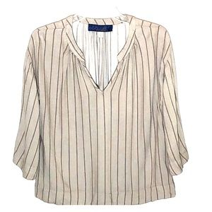 Blue Rain Striped Rayon Top Henley Collar